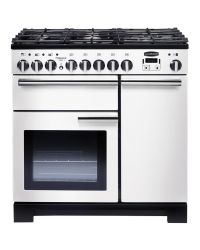 Rangemaster Professional Deluxe 90 Range Cooker Dual Fuel White PDL90DFFWH/C 98960