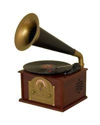 Steepletone Phono1 Gramophone Style Record Player Dark Wood