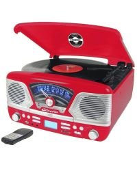 Steepletone Roxy 4 Red 60'S Style Retro 3-Speed Record Player