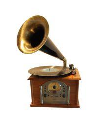 Steepletone Phono1 Gramophone Style Record Player Light Wood