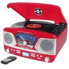 Steepletone Roxy 4 Red 60'S Style Retro 3-Speed Record Player
