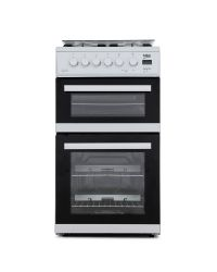 Beko EDG506W twin cavity Gas Cooker, Glass Lid